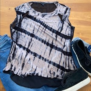 ROCK REPUBLIC L Tie-Dye Black Taupe Sleeveless Top